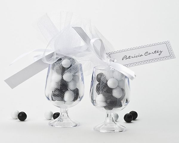 wrap candy then place in wine glasses favors