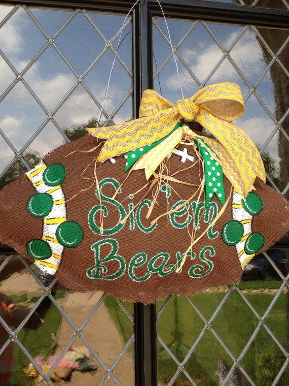 Baylor Football Burlap Doorhanger With Images Baylor Football Wreath Crafts Burlap