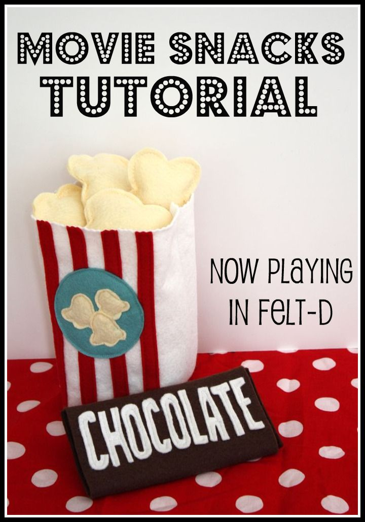 DIY Felt Popcorn + Felt Chocolate Bar #DIY #Sewing #Sew #Toys #FeltFood #PlayFood #Kids #Toddlers