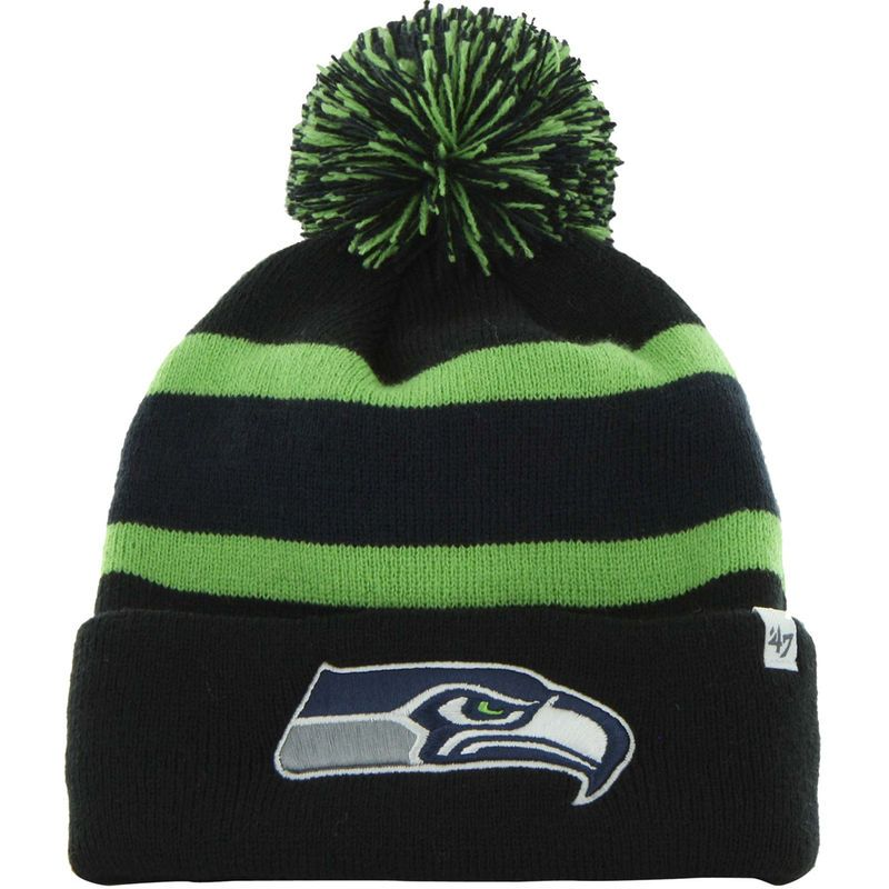 9801e2708 Seattle Seahawks winter hat New Era Pom knit cap winter stocking cap  Sideline