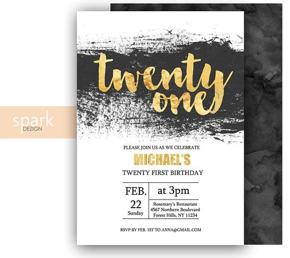 modern 21st birthday invitation for men with gold by sparkdezign, Birthday invitations