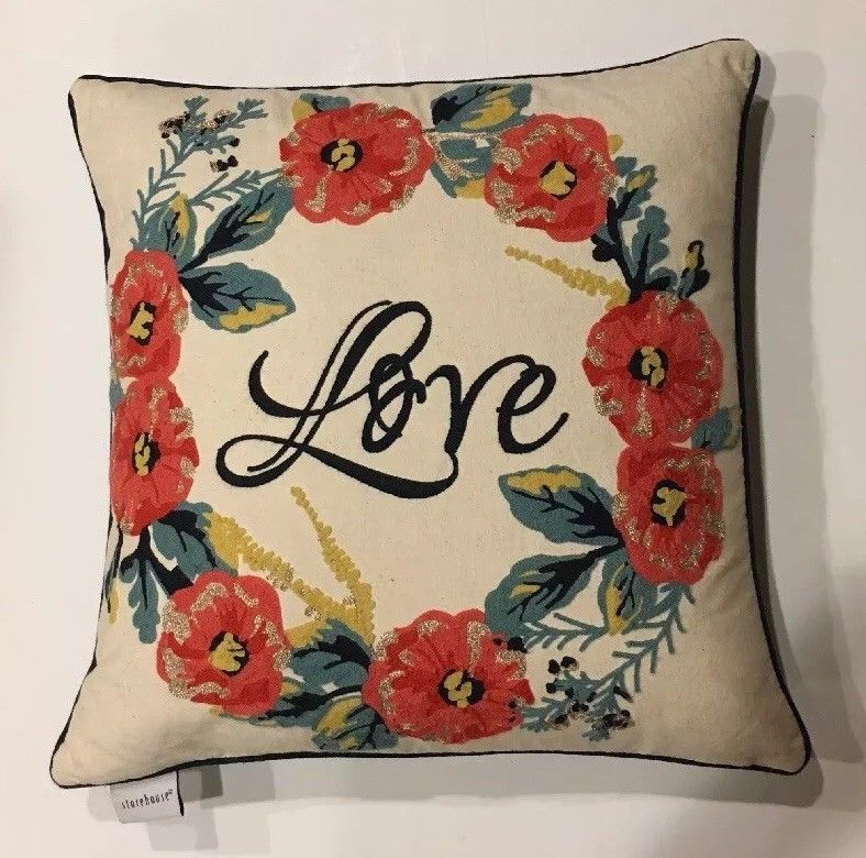 Details About Storehouse Feather Throw Toss Pillow Love Crewel Floral Coral Teal Gold Pillows Toss Pillows Floral