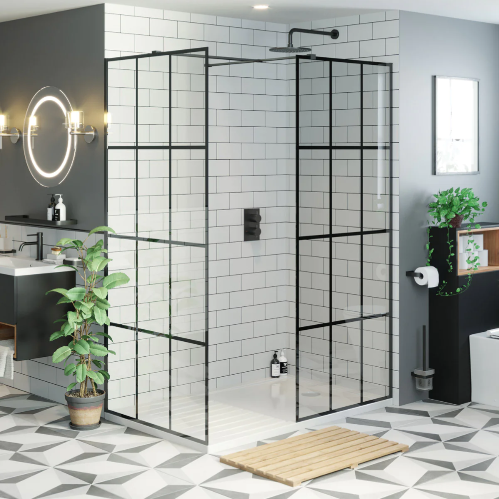 Click here to find out more about our black framed wet room panel pack with walk in shower tray #wetrooms
