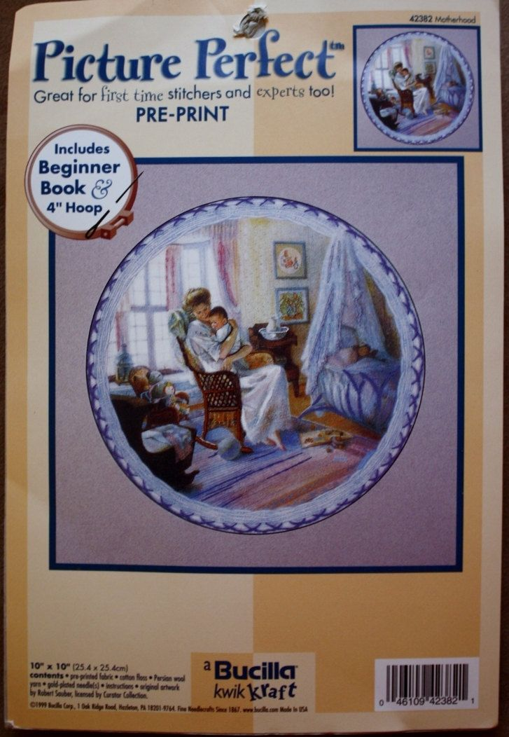 Bucilla/Picture Perfect/Size 10-by 10 Inches/ Embroidery Kit /Mother & Child/Rocking Chair/Pre-Print/Includes Beginner Book by BluetreeSewingStudio on Etsy