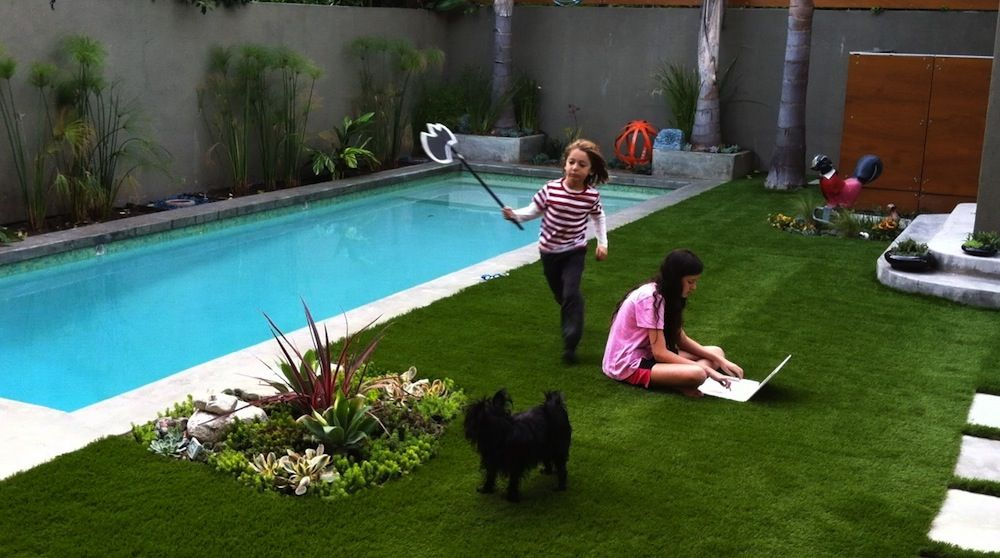 Small backyard pool and grass design beautiful small for Outdoor pool decorating ideas