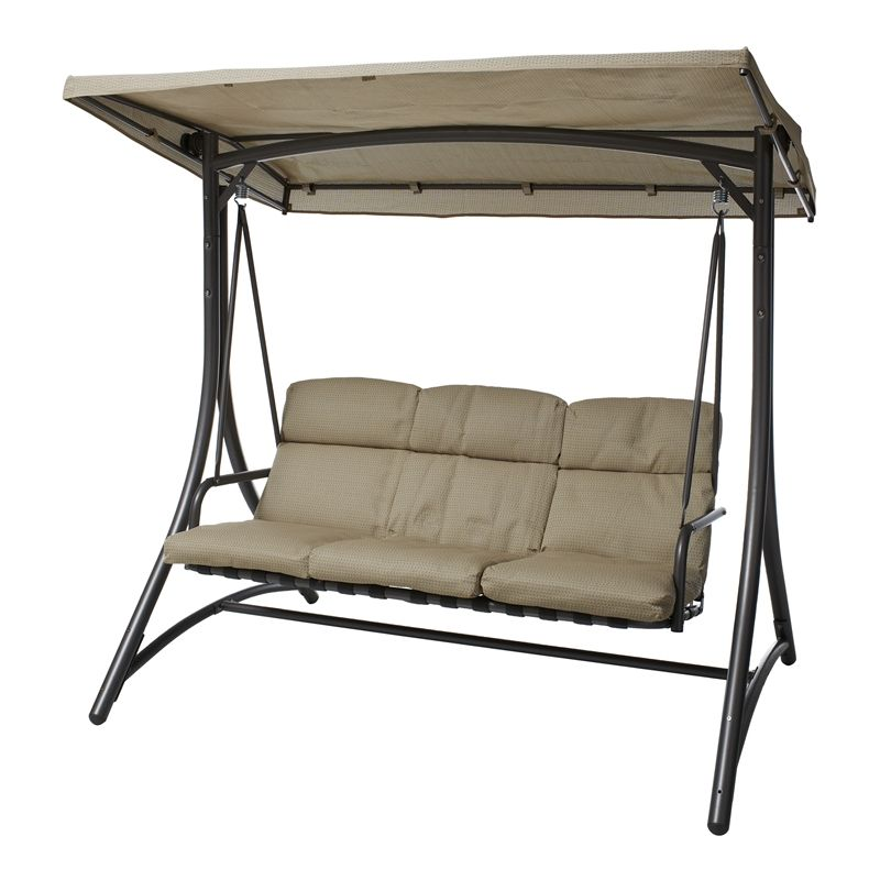 Garden Furniture Swing Seats marquee 3 seater mirage delta steel swing seat $299 @ bunnings