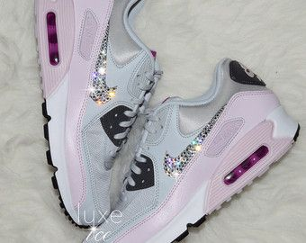 reputable site 6129f d7869 Nike Air Max 90 SE Leather Shoes Made with SWAROVSKI® Crystals -  White Metallic Rose Gold