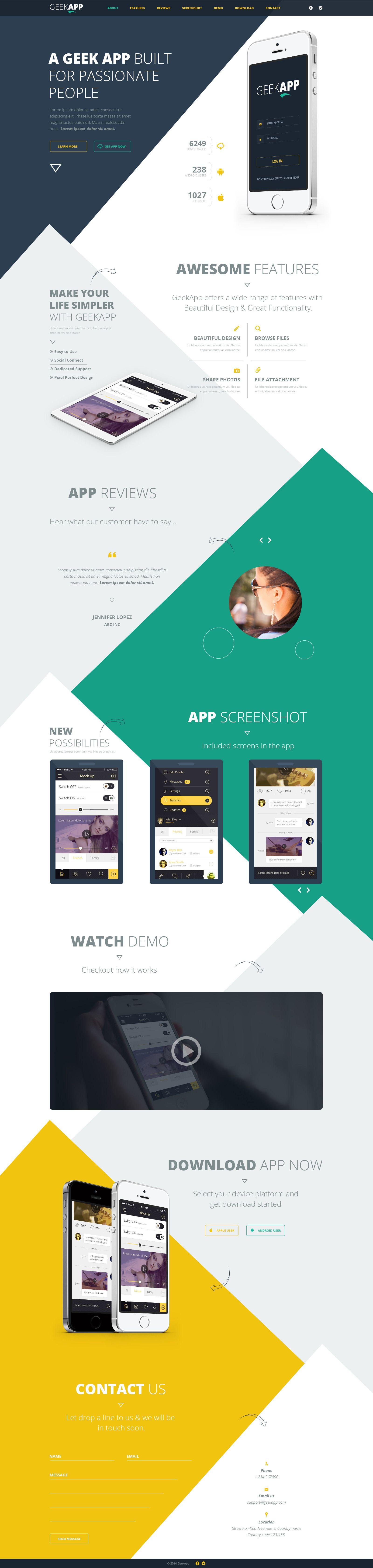 Geekapp one page app landing psd template web design free stuff pinterest psd for Pinterest template psd