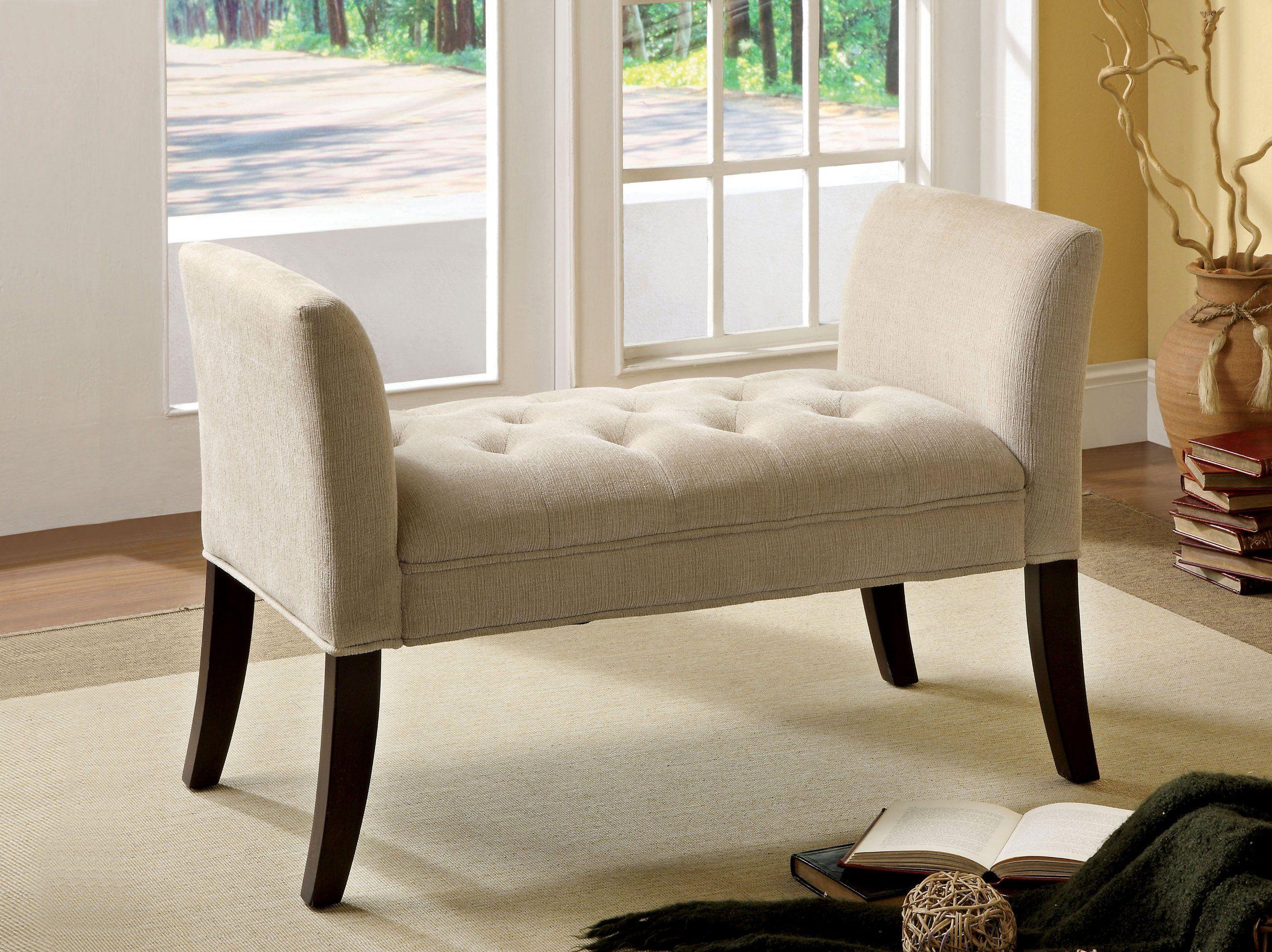 Amazon com   Furniture of America Venetian Fabric Vanity Bench  Ivory   Bedroom  Bench. Amazon com   Furniture of America Venetian Fabric Vanity Bench