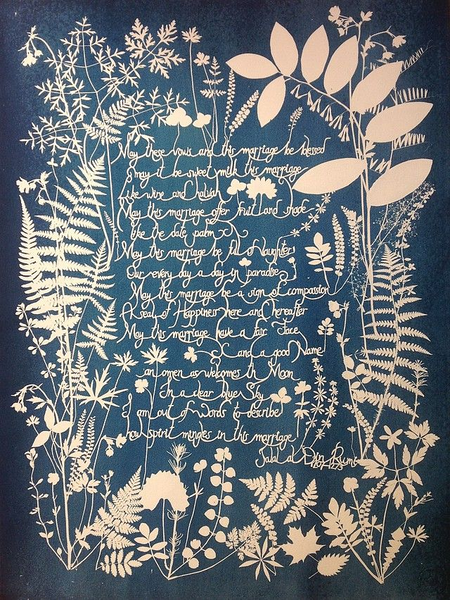 Feine Papierobjekte - Fine Paper Objects Cyanotypie Floral - fresh blueprint paper name