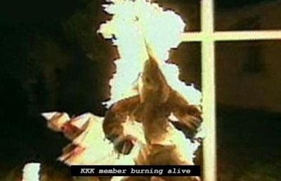 devilshope:  ungovernablesf:  KKK member burning alive.  I will never not reblog this :3