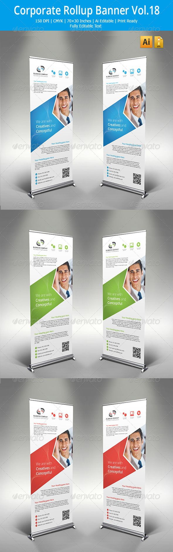 Corporate Roll up banner Template #design Download: graphicprime.com/...