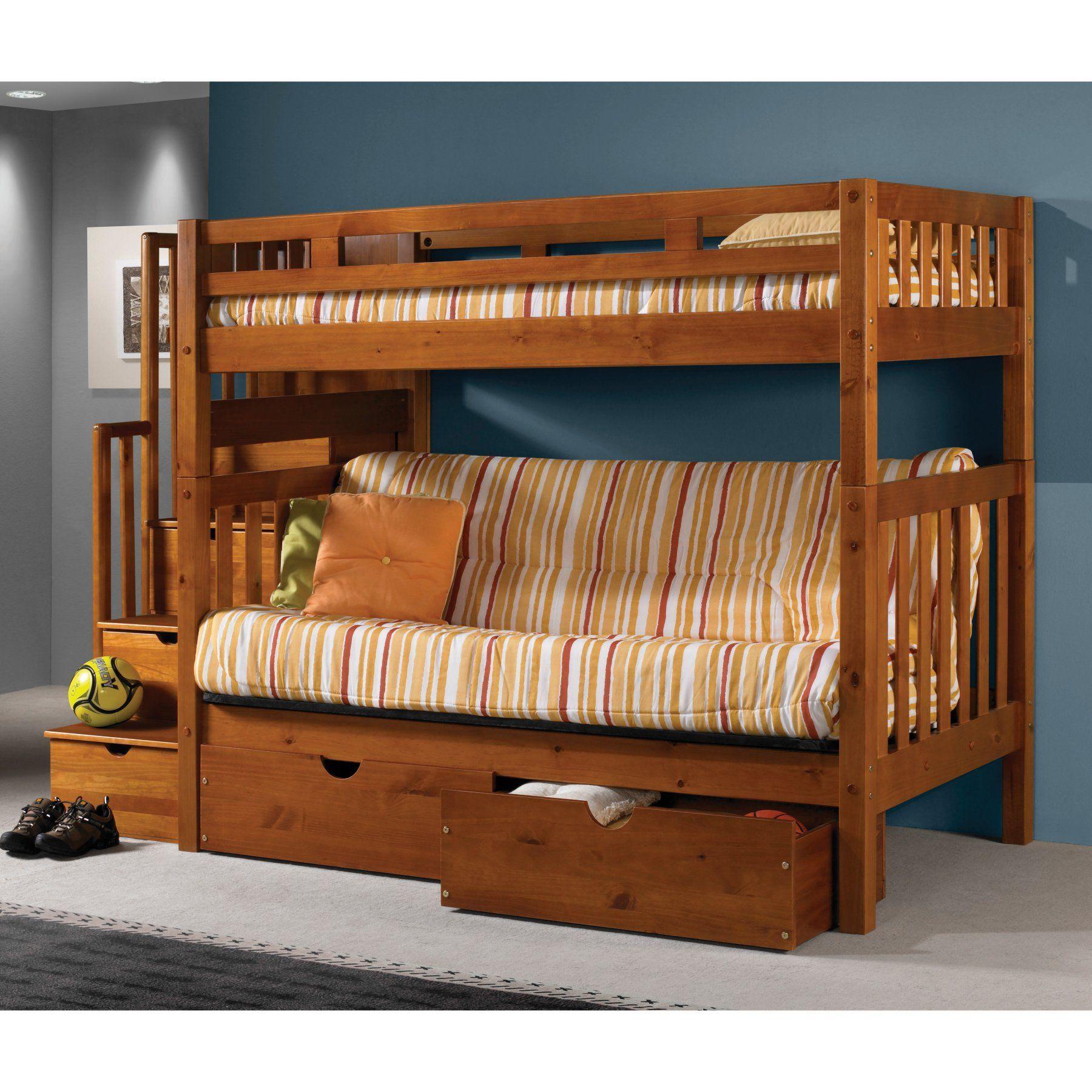 Donco Twin Futon Stairway Bunk Bed Honey DOT218 in