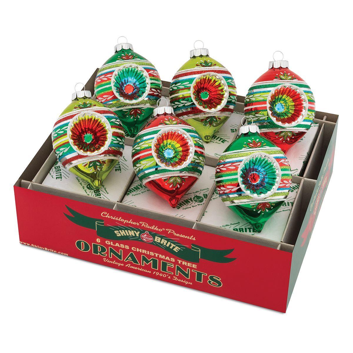 Radko Shiny Brite Holiday Splendor Shapes /& Rounds Vintage Style Ornaments Set12