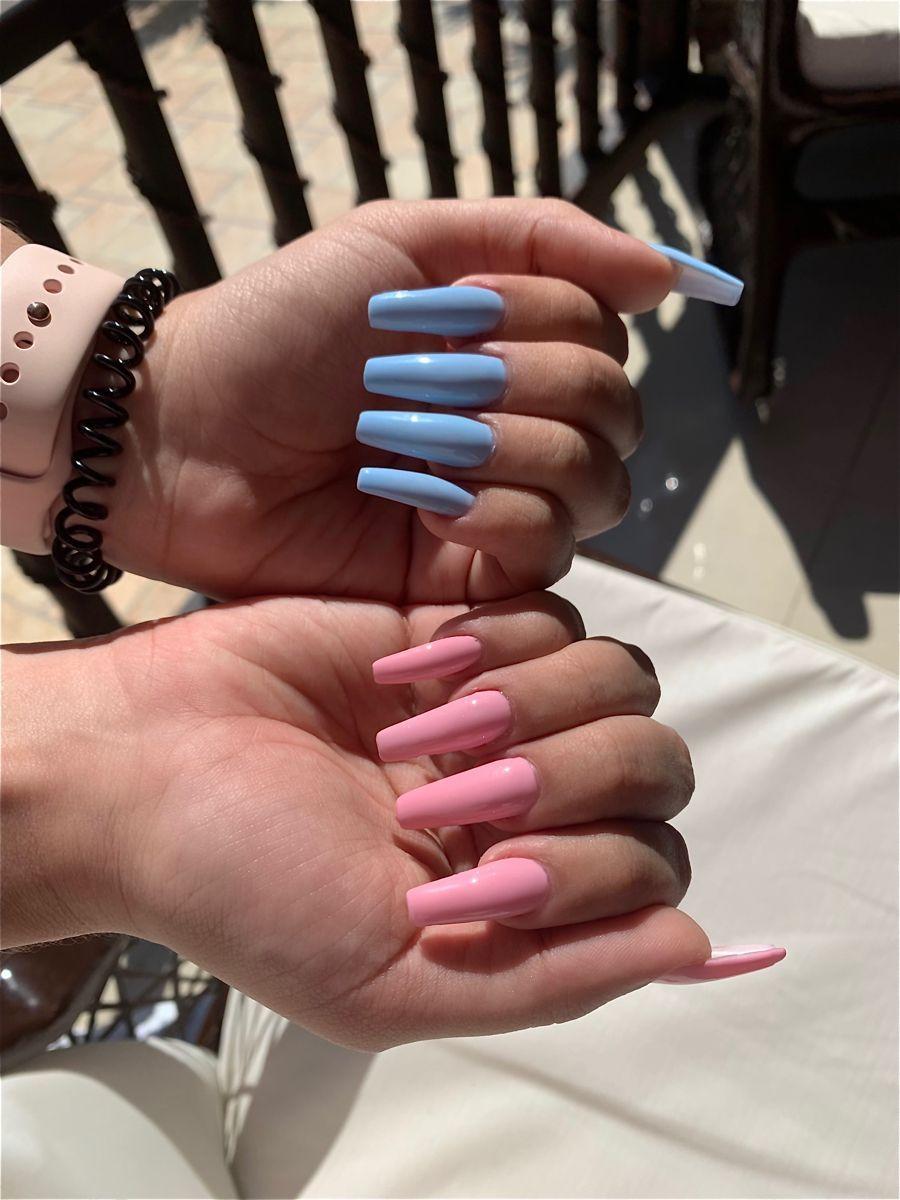 Blue Pink Nails Different Nails Long Nails Coffin Pink Nails Blue Nails Pink And Blue Nails Ky In 2020 Acrylic Nails Kylie Jenner Baby Pink Nails Pink Nails