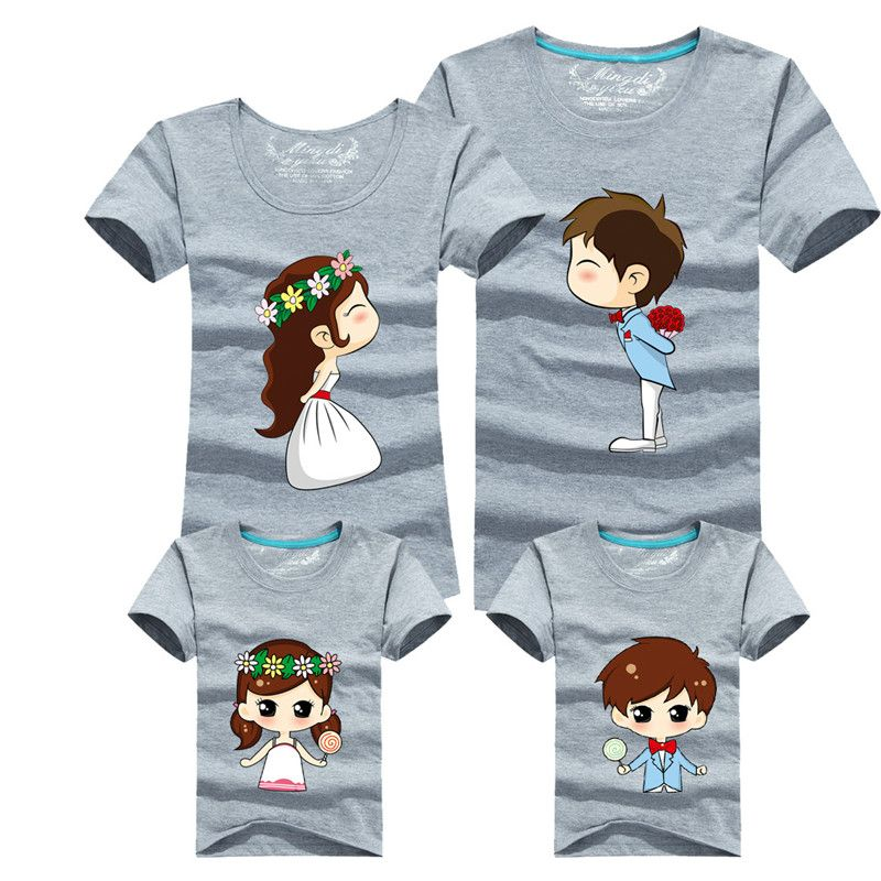 Family Matching Outfits Mother Father Son Daughter 15 Colors Cartoon Bride  Bridegroom Print Women Men Children Boy Girl T shirt 59d9fa133