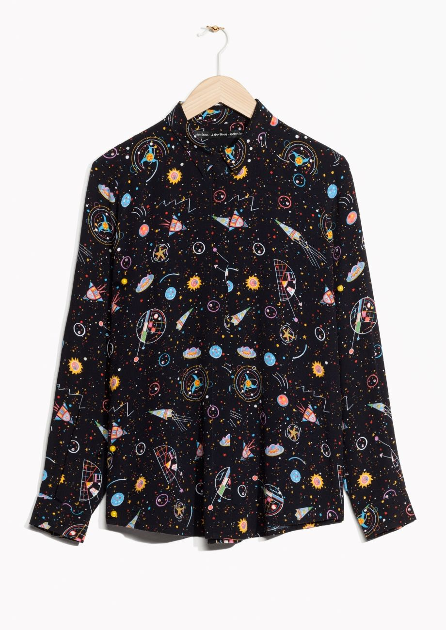 3e8c96997e8 & Other Stories image 2 of Galaxy Print Shirt in Black | [articles ...
