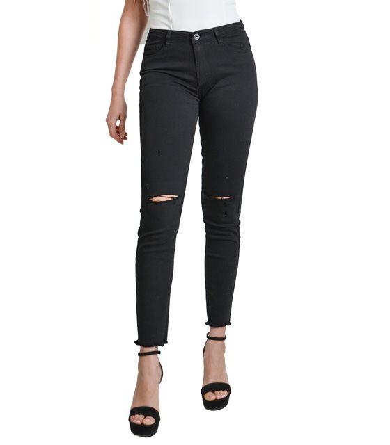 ebbd5109085 Μαύρο ψηλόμεσο τζιν με σκίσιμο στο γόνατο | Γυναικεία στενά τζιν ...