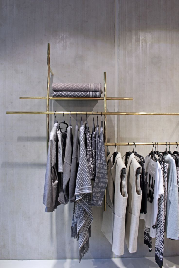 Flagship Retailer Lala Berlin - shelving and show of garments - #Berlin #clothes #display #flagship #Lala #shelving #STORE #clothes #clothes #store