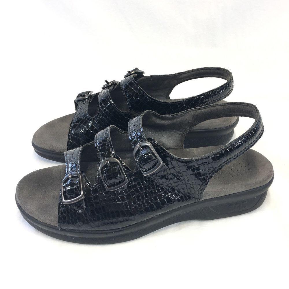 07f56e8c99f0 SAS Black 3 Strap Patent Leather Snake Print Slingback Sandals Womans 8  Tripad  SAS