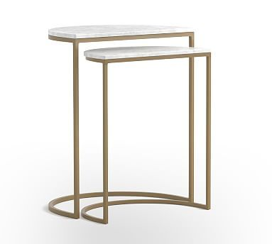 Marla Demilune Marble Nesting End Tables Nesting End Tables Marble Pedestal Dining Table End Tables