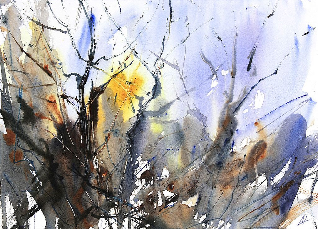 The Chaos of Winter Trees. Expressive, semi abstract watercolour by Adrian Homersham