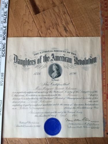Daughters Of The American Revolution 1915 D A R Certificate Saranac Robinson American Revolution Revolution American