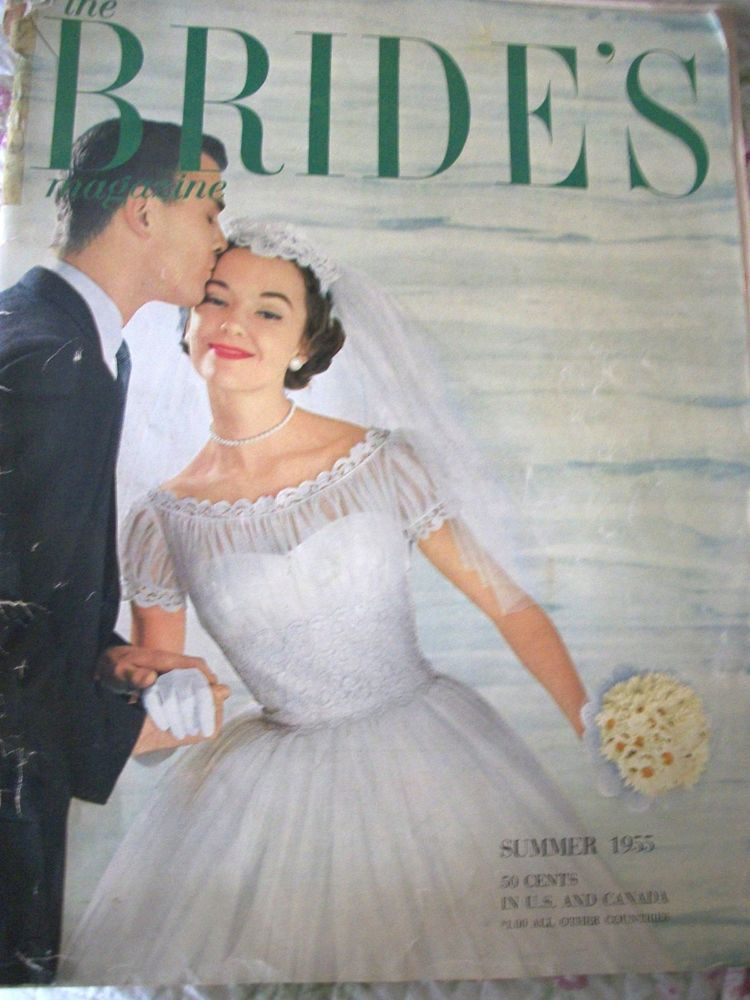 Vintage The Brides Magazine 1955 Summer Bride Fashions Gowns Ads Wedding
