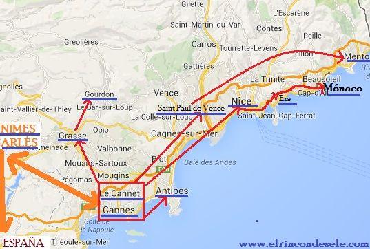 Mapa Sur De Francia Ciudades.Mapa De La Ruta En Provenza Y Costa Azul Francia En 2019