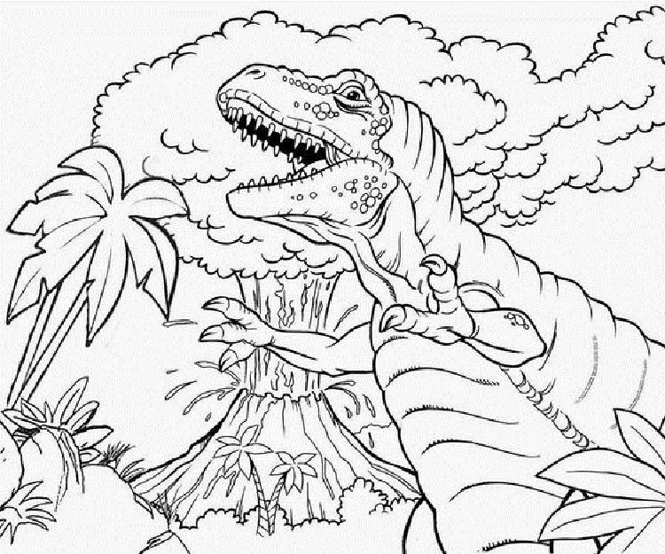 T Rex and Volcano Coloring Pages Dinosaur coloring