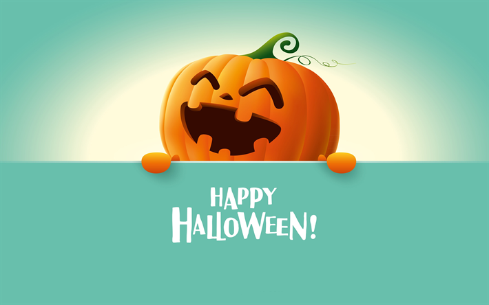 Download wallpapers 4k, Happy Halloween, creative, pumpkin