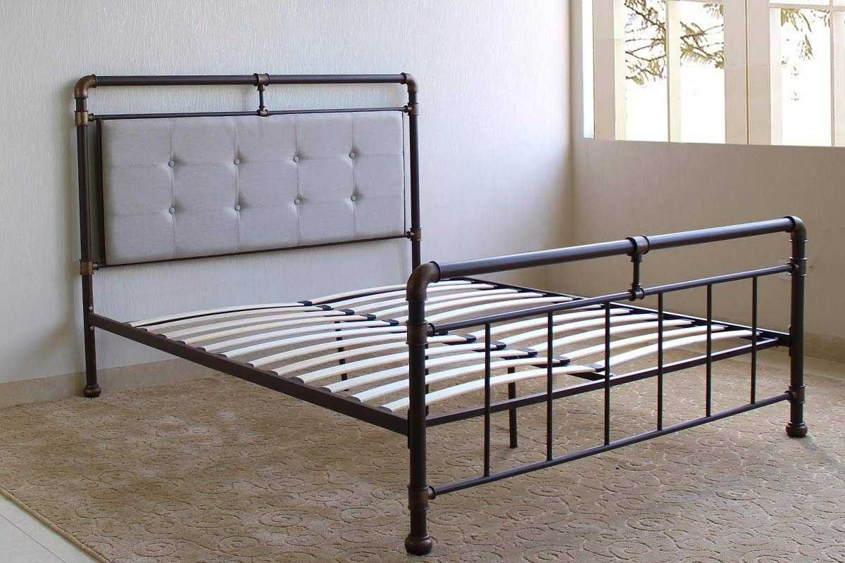 Scaffold Brown Metal Fabric Bed Frame