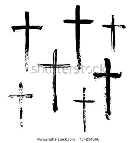 Christian Religious Symbol Cross Painted By Brush Tattoos
