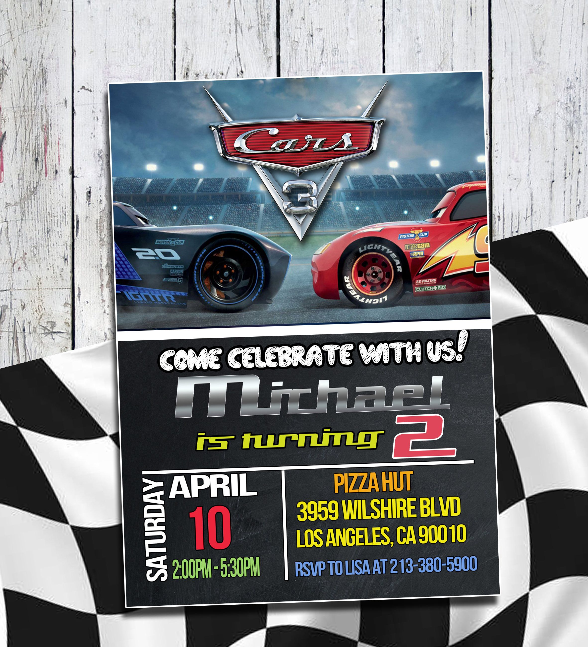 Disney Cars 3 Invitation Birthday