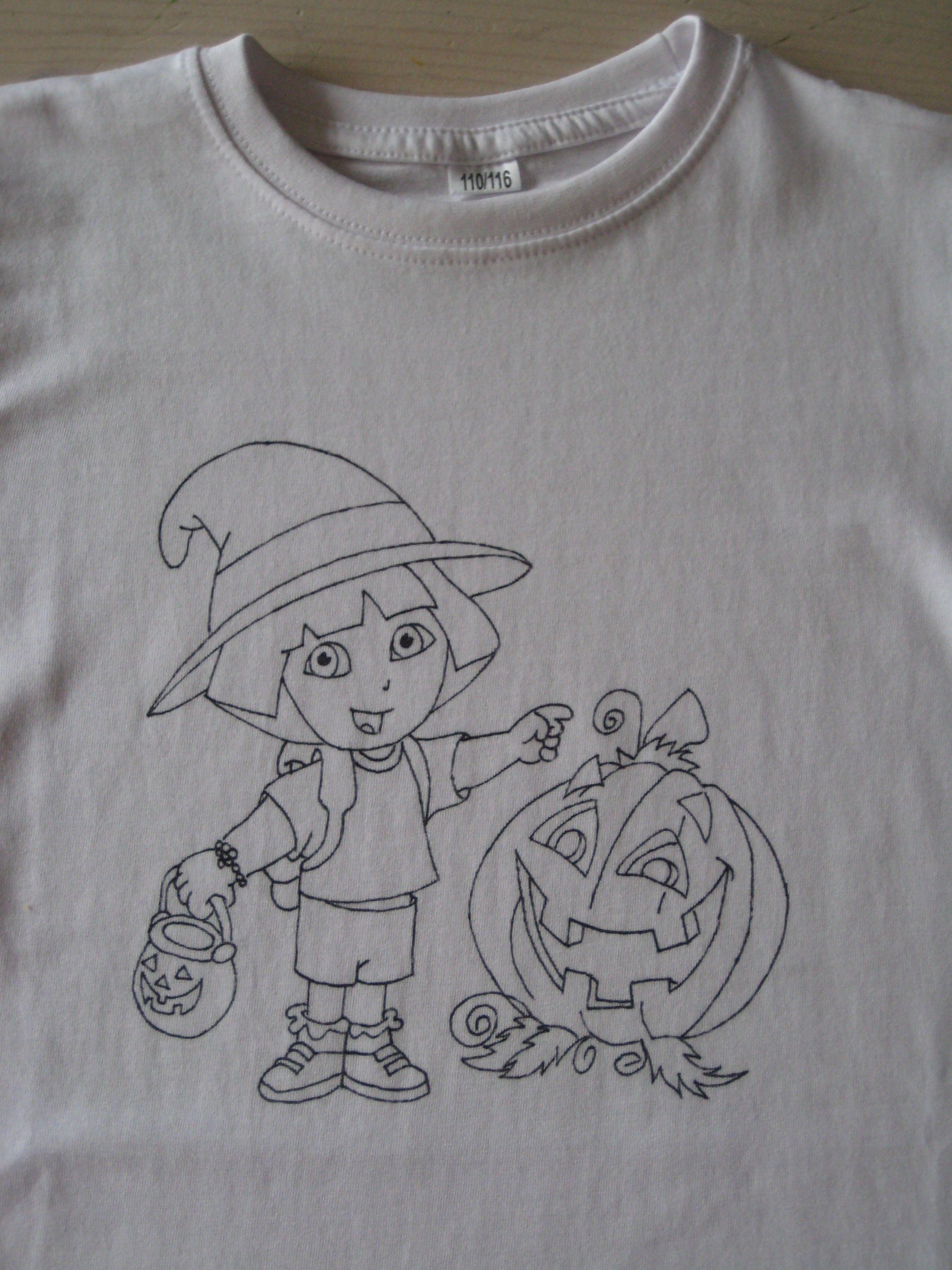 Quatang Gallery- Wit T Shirt Met Handgetekende Kleurplaat Leuk Om In Te Kleuren Met Textielverf Stiften Textielverf Witte T Shirts Kleurplaten