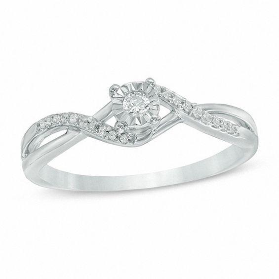 1 10 Ct T W Diamond Twist Shank Promise Ring In 10k White Gold Promise Rings Rings Diamond Promise Rings