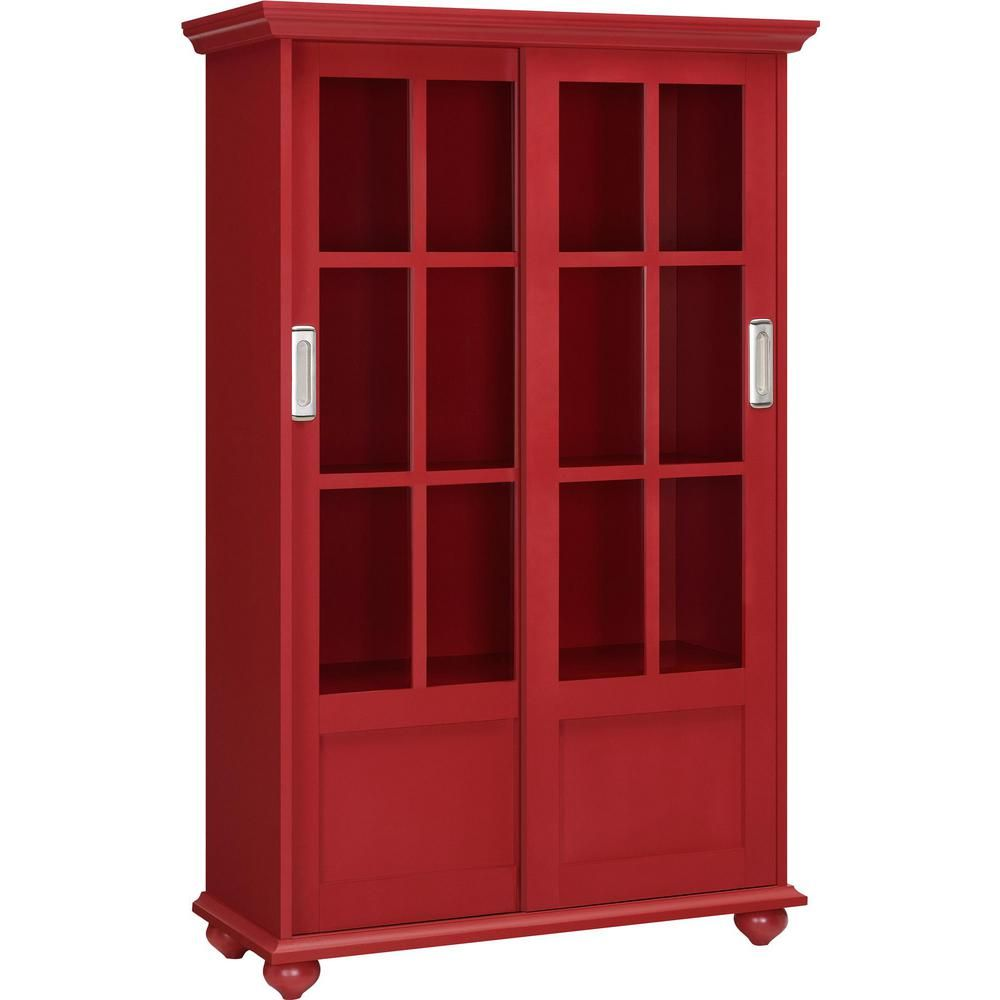 Ameriwood Home Abel Place Red Glass Door Bookcase Red Finish