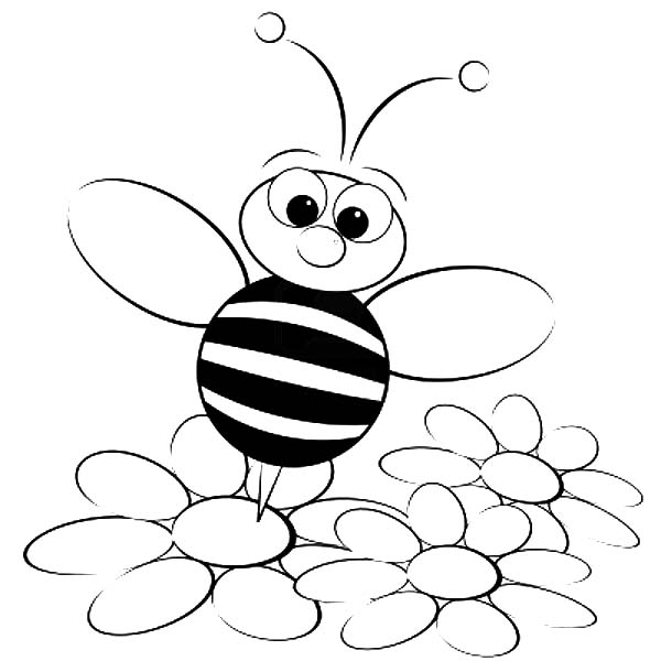 Bumble Bee Standing On Flower Coloring Pages Best Place To Color Bee Coloring Pages Flower Coloring Pages Coloring Pages