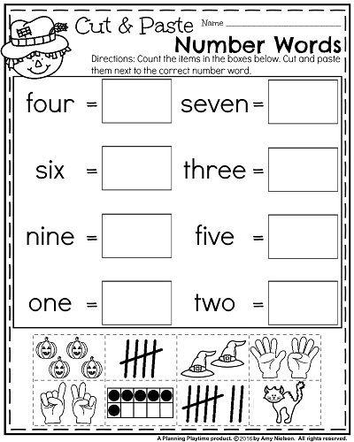 October Kindergarten Worksheets Planning Playtime Number Words Worksheets Kindergarten Worksheets Numbers Kindergarten