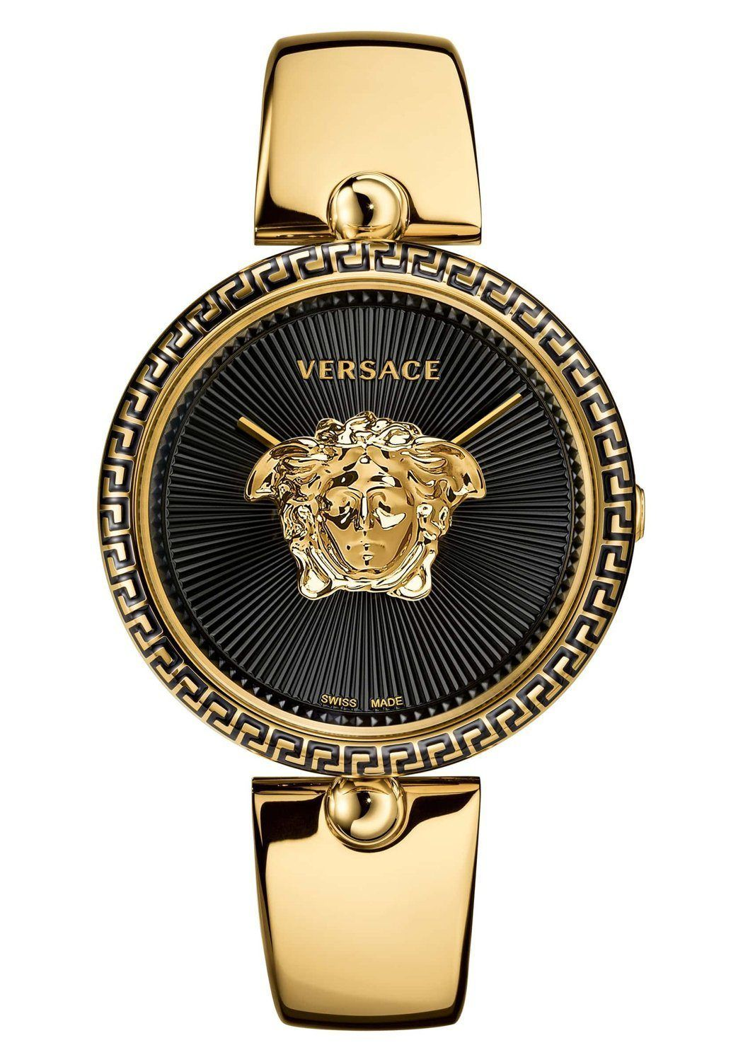 Gold medusa dial timepiece by versace luxury watches and