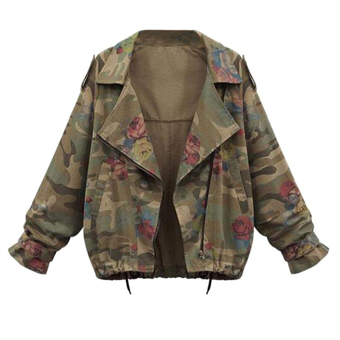 Eforward Women Bomber Jacket Camo Printed Short Coat Outwear Flight Jacket Coat L Army Green Awesome Products Selected By Camouflage Jacket Camo Print Jacket