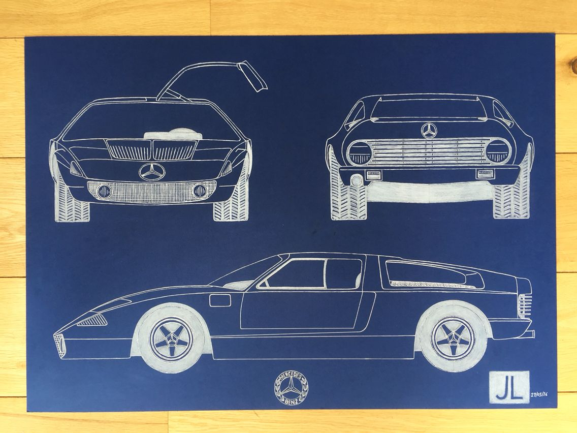 Blueprint drawing of 1969 mercedes benz c111 fine art of cars and blueprint drawing of 1969 mercedes benz c111 malvernweather Gallery
