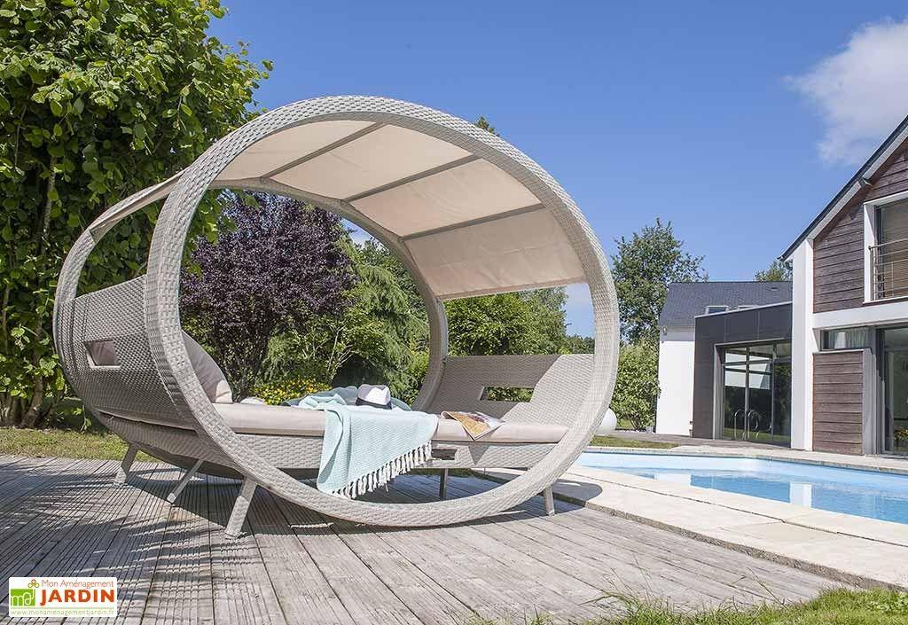 Lit de Jardin 2 Places Cocoon en Résine Tressée Grise | MOBILIER de ...