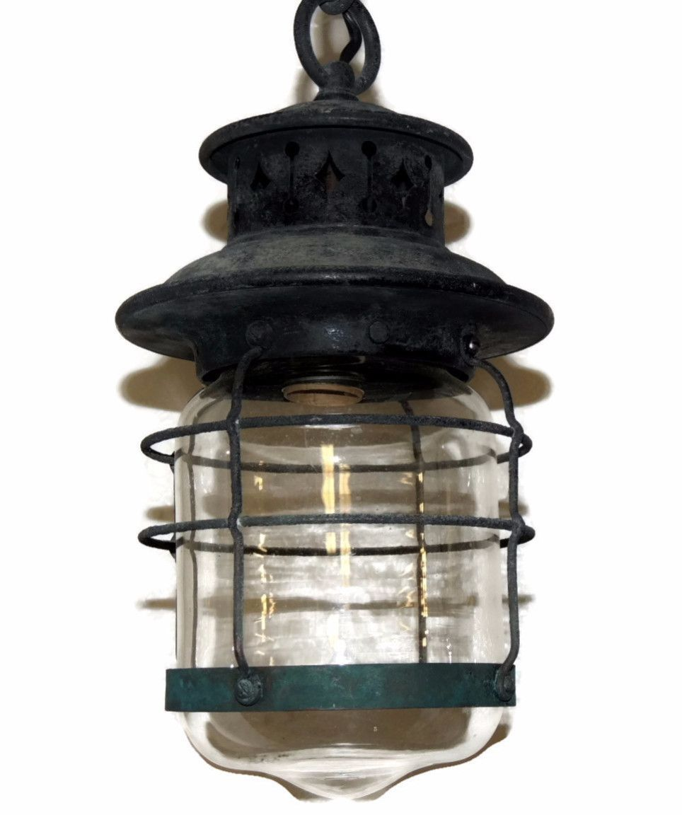 Antique lantern light fixture arts and crafts mission style hanging antique lantern light fixture arts and crafts mission style hanging lamp arubaitofo Gallery