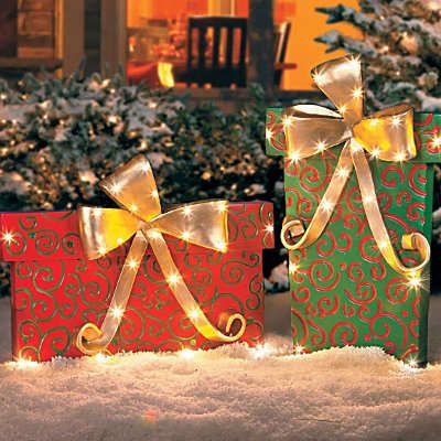 Lighted Gift Boxes Christmas Decorations