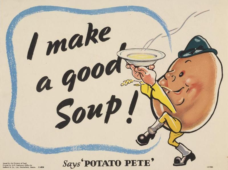 Potato Pete was a fun character created by the Ministry of Agriculture & Food to inspire people to eat more potatoes and maintain their health during the Second World War....♔..
