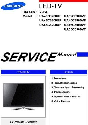 Samsung Tv Manual For Service And Repair Led Tv Tv Services Sony Led Tv
