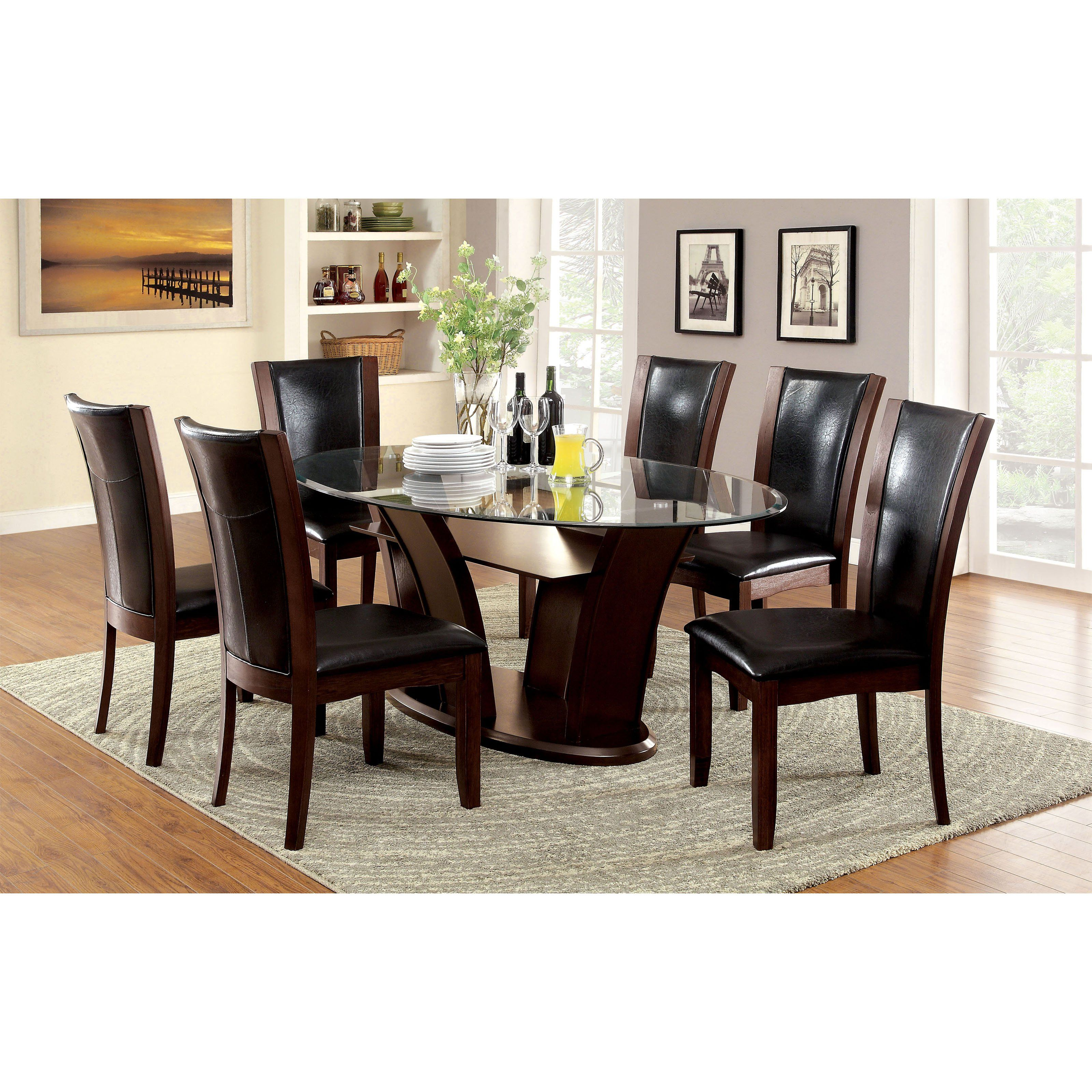 Furniture of america lavelle 7 piece tempered glass top dining table set idf 3710ot 7pc