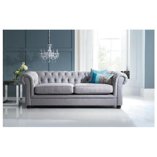 Chesterfield Linen Sofa In Silver From Tesco Direct Living RoomGrey