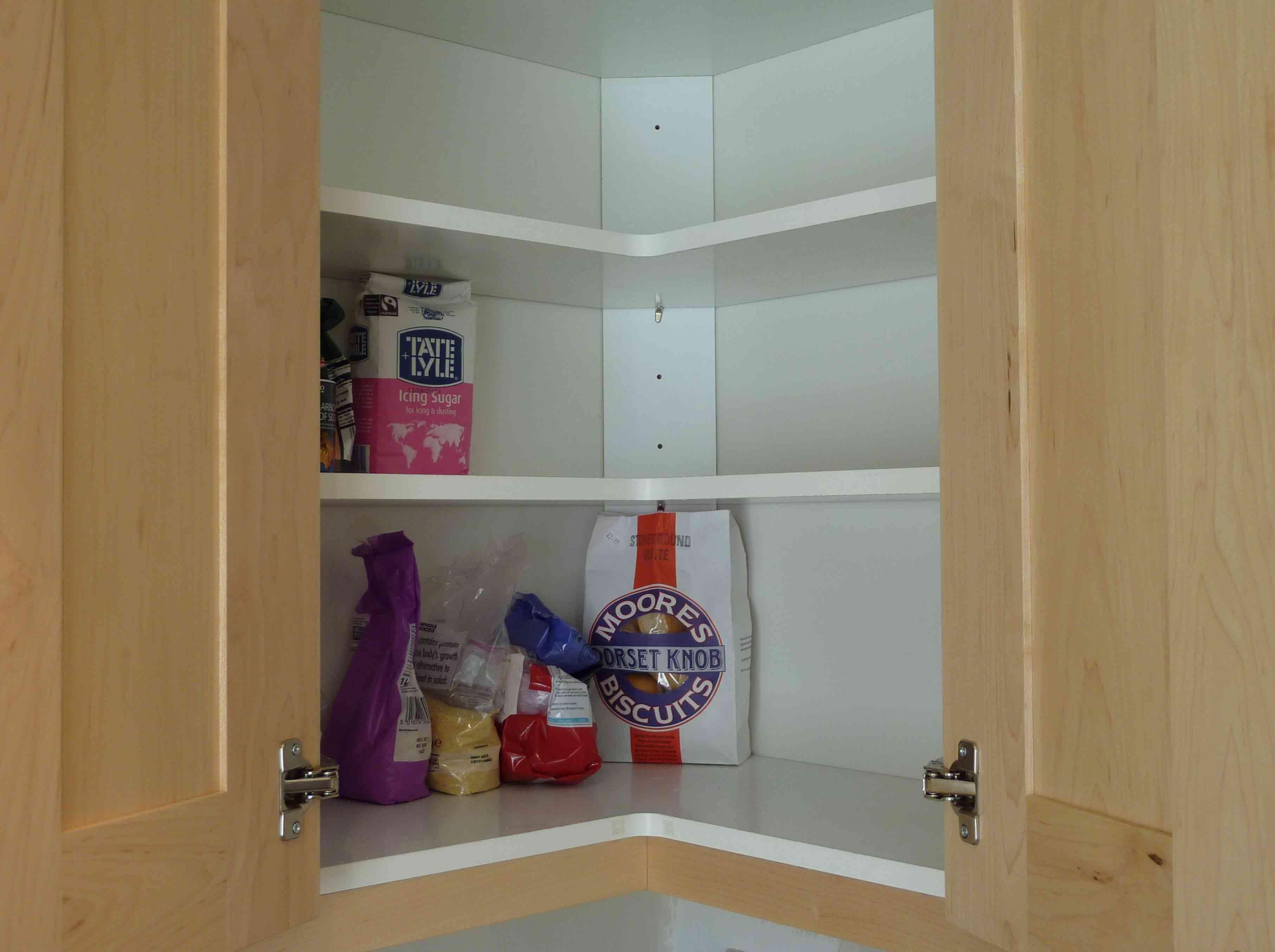 Attractive 3 Tier White Shelves Inside Corner Kitchen Cabinets With Sliding Oak Door Cabinet Custom Storage
